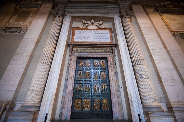 The Holy Door is the northernmost door of St. Peter's Basilica. It is only opened at special occasion during a Holy year such as the Jubilee year which occurs every 25 years and symbolizes an invitation to grace. It is also known as Porta Sancta. The last