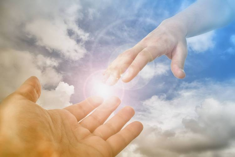 God's Saving Hand reaching for the faithful